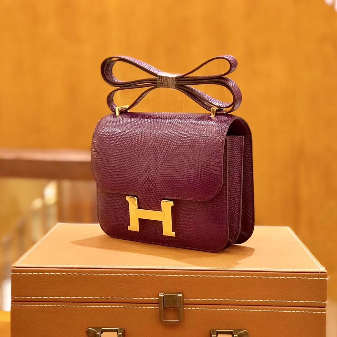 Hermès(爱马仕)Constance 空姐包 蜥蜴皮 橄榄绿 18cm