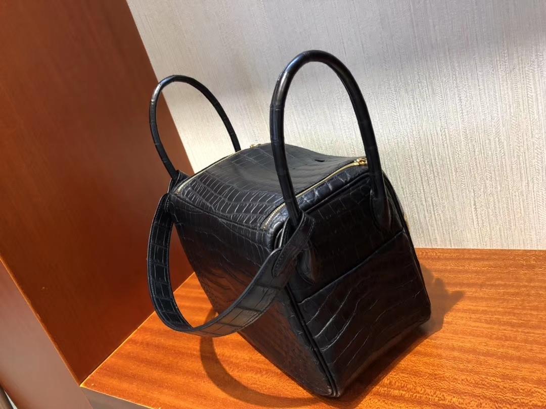 Hermès(爱马仕)Lindy 琳迪包 雾面鳄鱼 ck89 黑色 Noir 金扣 26cm 顶级手缝