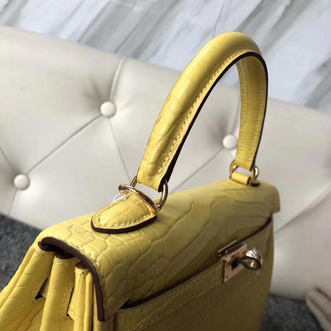 Hermès(爱马仕)Kelly 凯莉包 Matt alligator crocodile 雾面美洲鳄 柠檬黄 蜡线全手工 25cm 接受预定