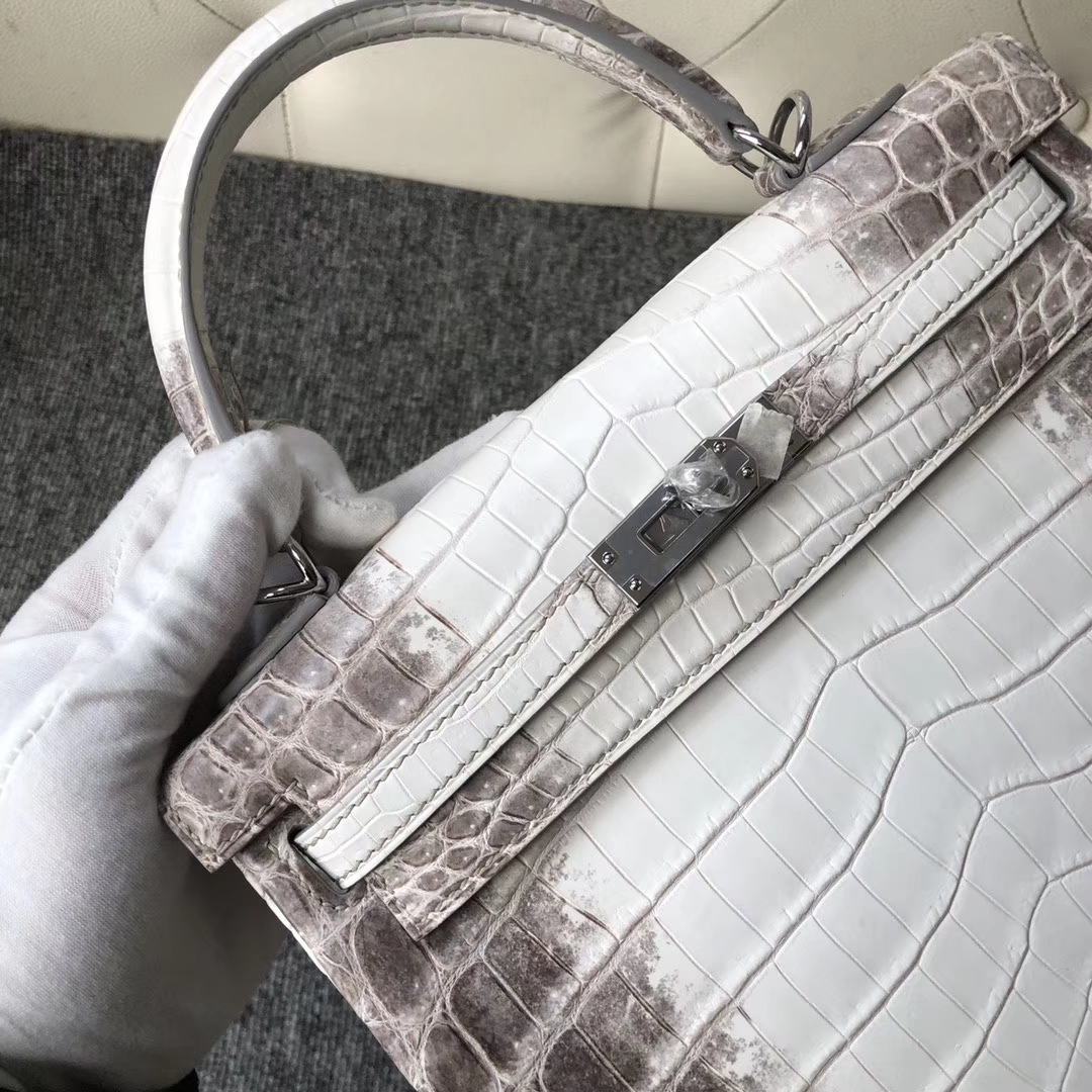 Hermès(爱马仕)Kelly 25cm Himalaya 喜马拉雅 包中皇后 银扣 品相完美 现货