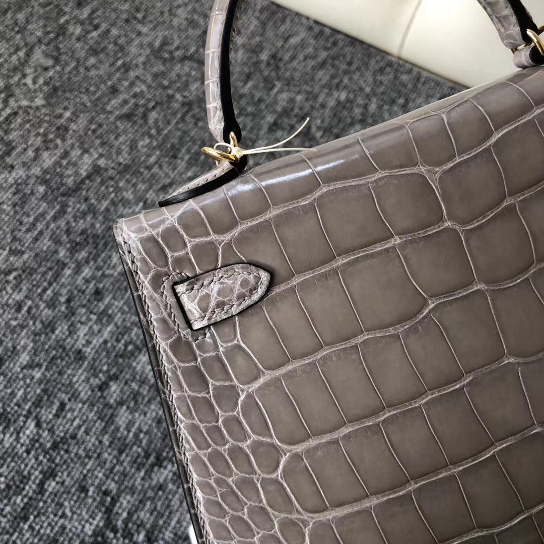 Hermès(爱马仕)Mini kelly ll Alligator shiny 亮面鳄鱼 ck81 斑鸠灰 Gris T 金扣 现货