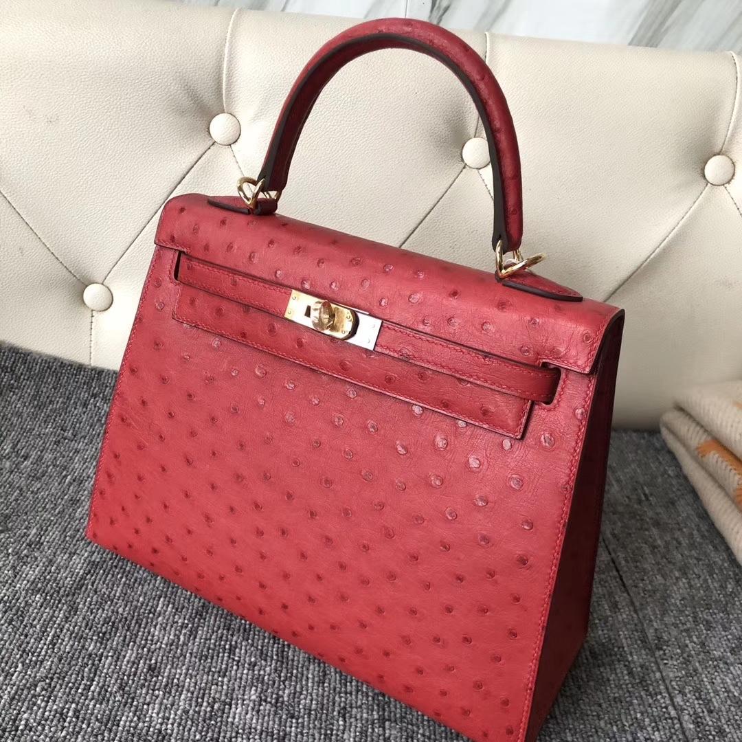 Hermès(爱马仕)Kelly 25cm Kk鸵鸟 Q5 国旗红 Rouge casaque 金扣 顶级手缝