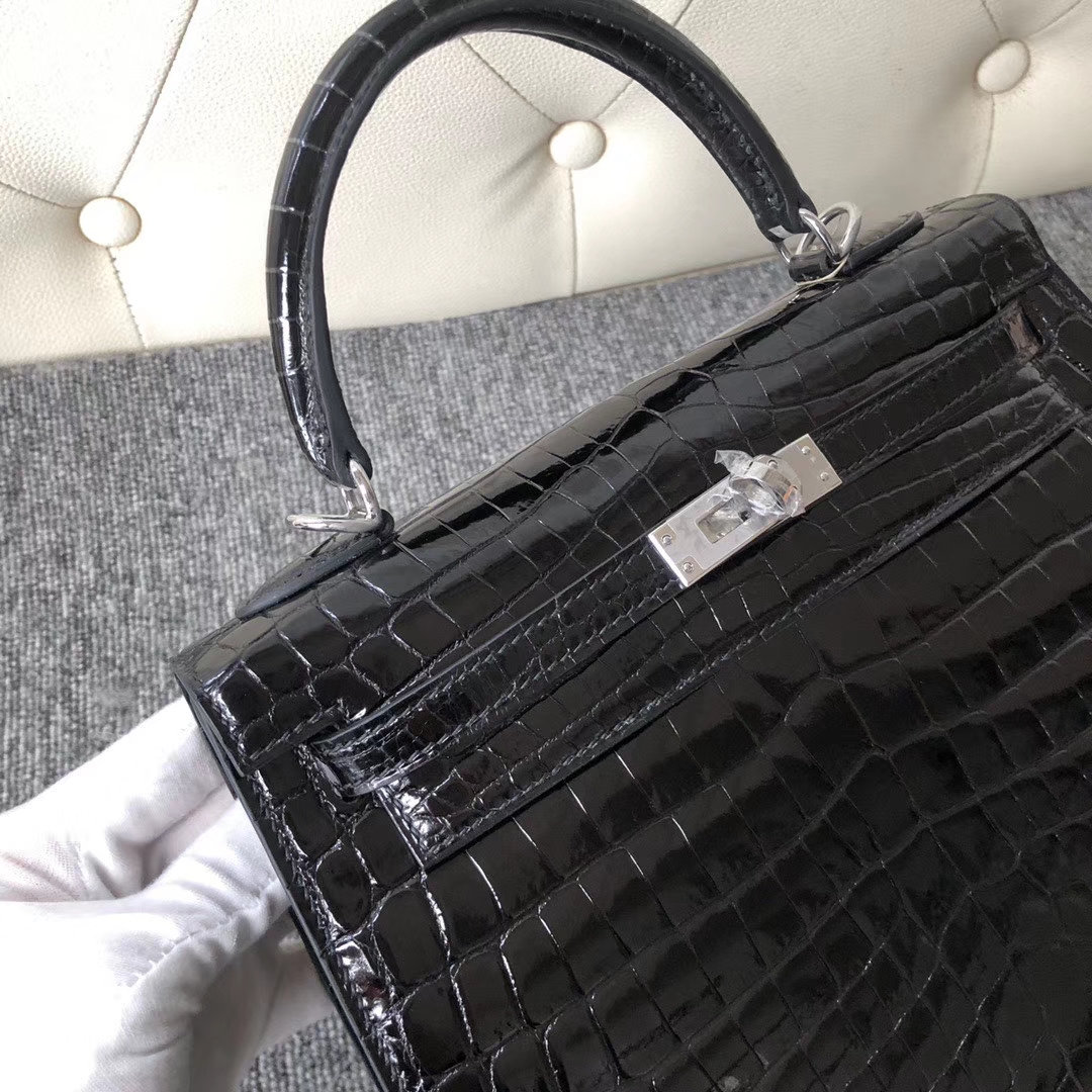 Hermès(爱马仕)Kelly 25cm Crocodile shiny 亮面鳄鱼 ck89黑色 Noir 银扣 拱珠皮 现货