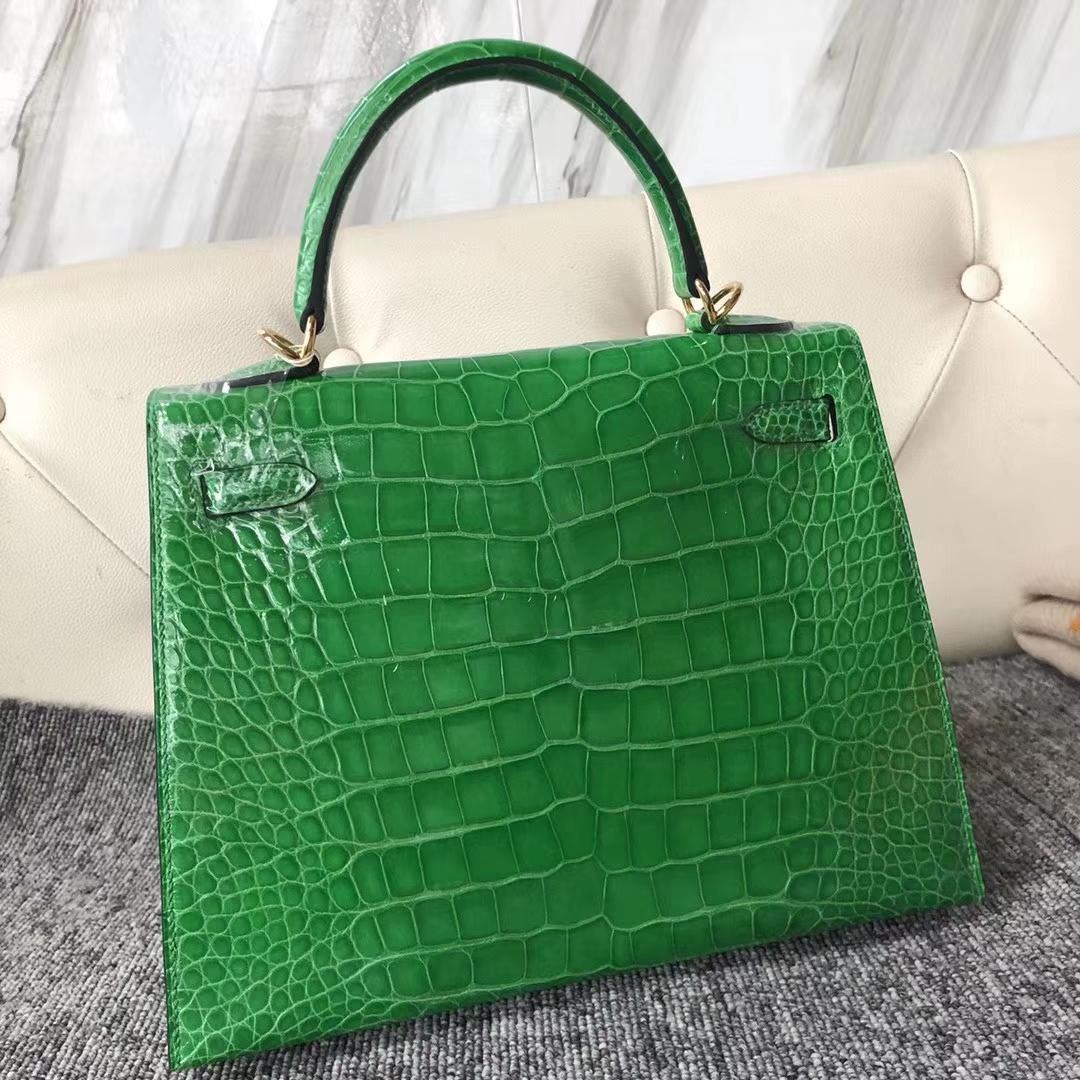 Hermès(爱马仕)Kelly 凯莉包 crocodile 亮面美洲鳄 1L仙人掌绿 蜡线全手工 金扣 接受预定 25cm