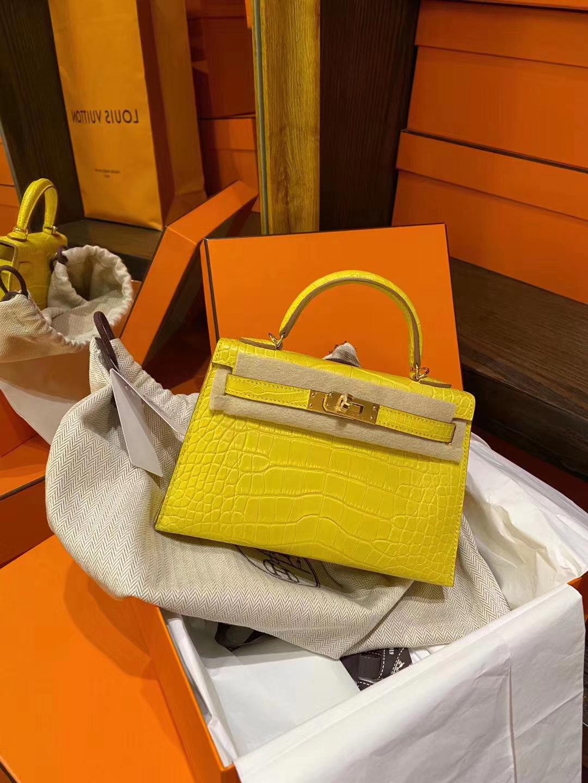 Hermès(爱马仕)Mini Kelly ll 雾面方块美洲鳄 M9金盏花黄