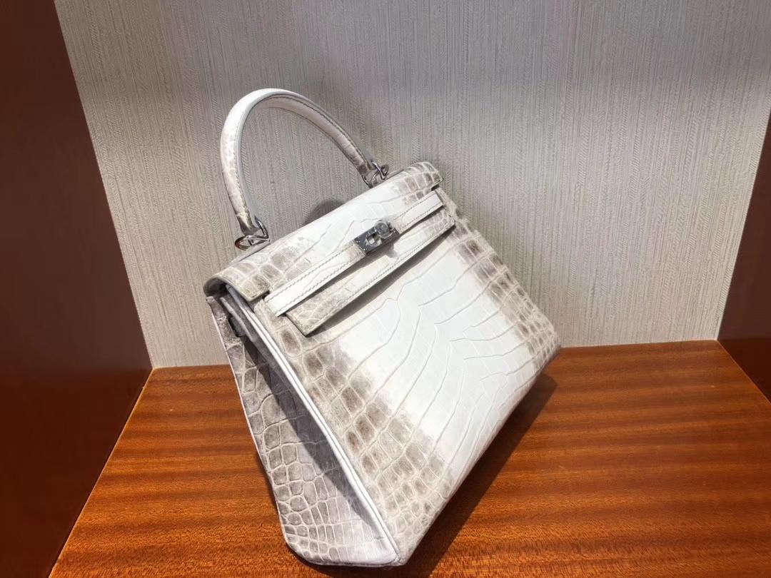 Hermès(爱马仕)Kelly 25cm Himalaya 喜马拉雅 银扣 包中皇后 顶级手缝 超美现货