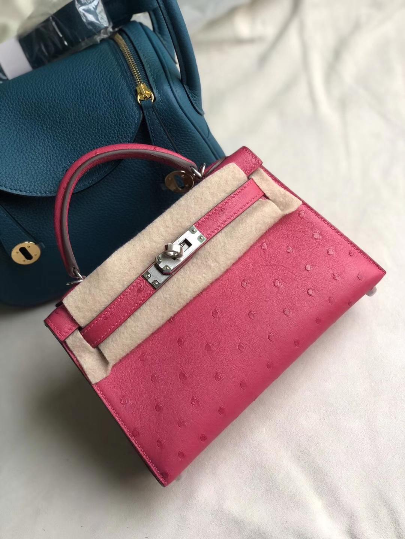Hermès(爱马仕)Minikelly ll Ostrich kk鸵鸟 5j 桃红 银扣 顶级手缝 现货