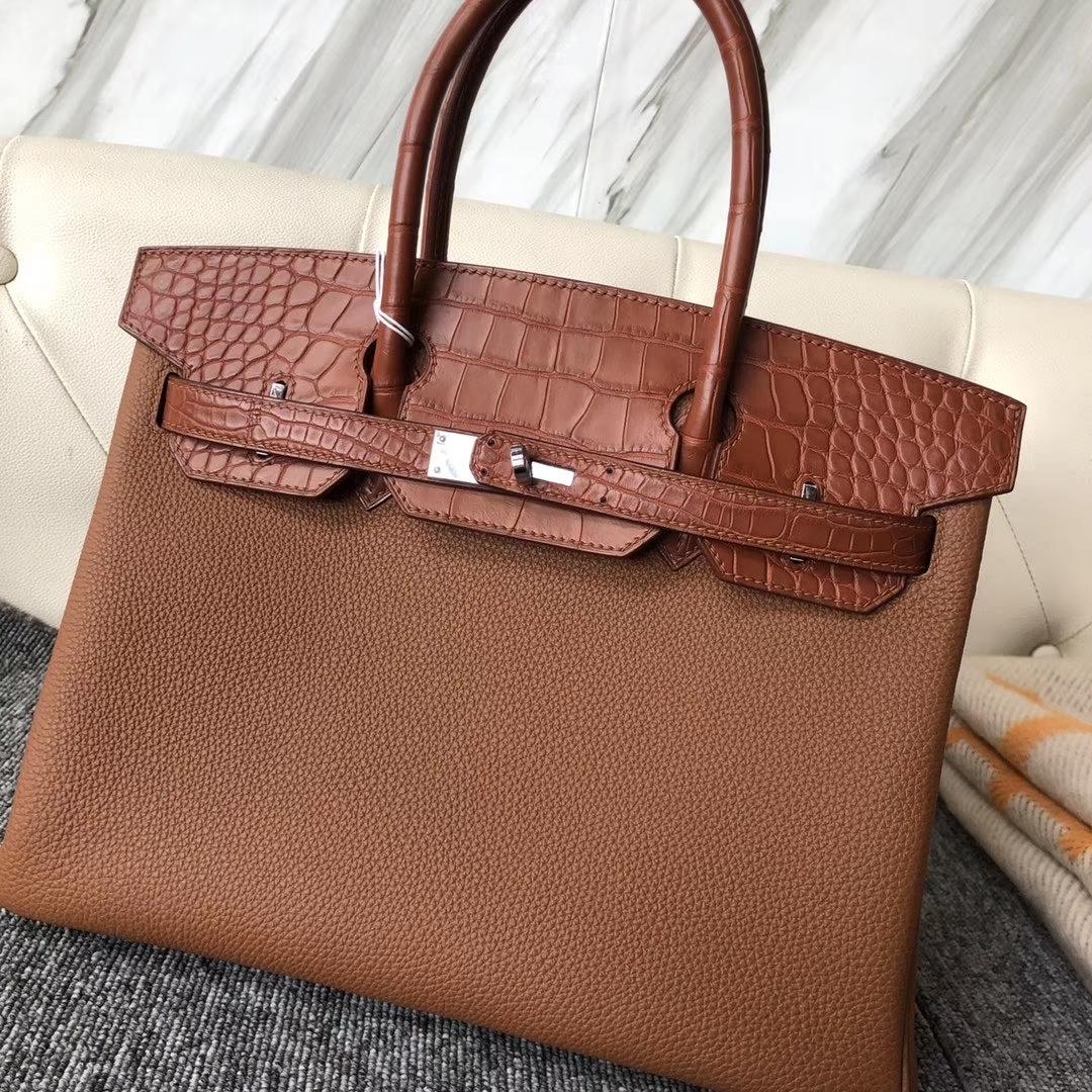 Hermès(爱马仕)touch 系列 Birkin 30cm  togo鳄鱼 ck37 金棕色 gold 雾面棕色鳄鱼 银扣 现货