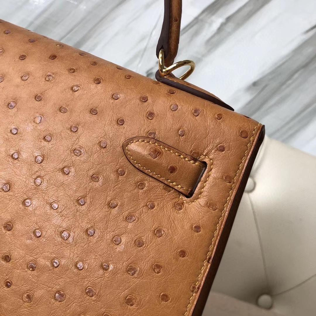 Hermès(爱马仕)Kelly 32cm Ostrich kk鸵鸟 ck37 金棕色 Gold 金扣 顶级手缝