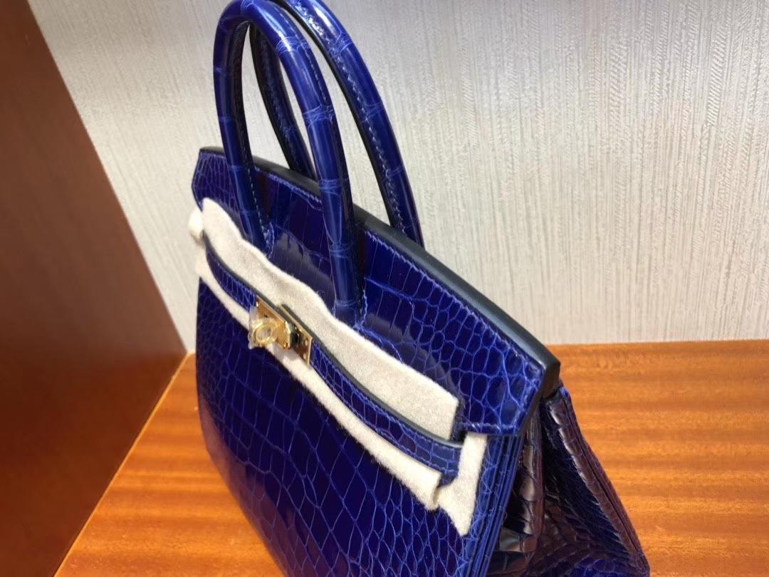 Hermès(爱马仕)Birkin 25cm Alligator shiny 亮面鳄鱼 7T 电光蓝 Blue eletric 金扣 顶级手缝 现货