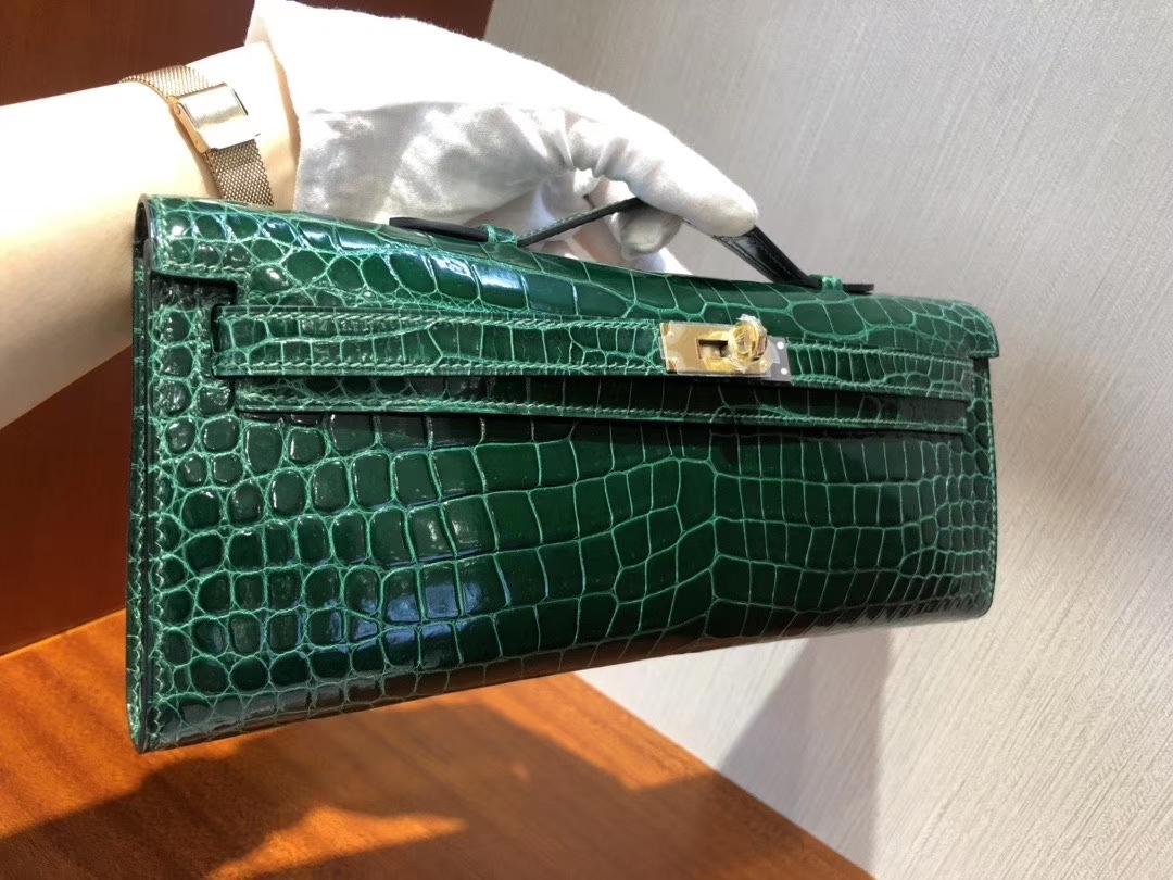 Hermès(爱马仕)Kelly cut 31cm Porosus shiny 亮面澳洲湾鳄鳄鱼 ck67 祖母绿 vert fonce 金扣 手拿包 晚宴包 现货