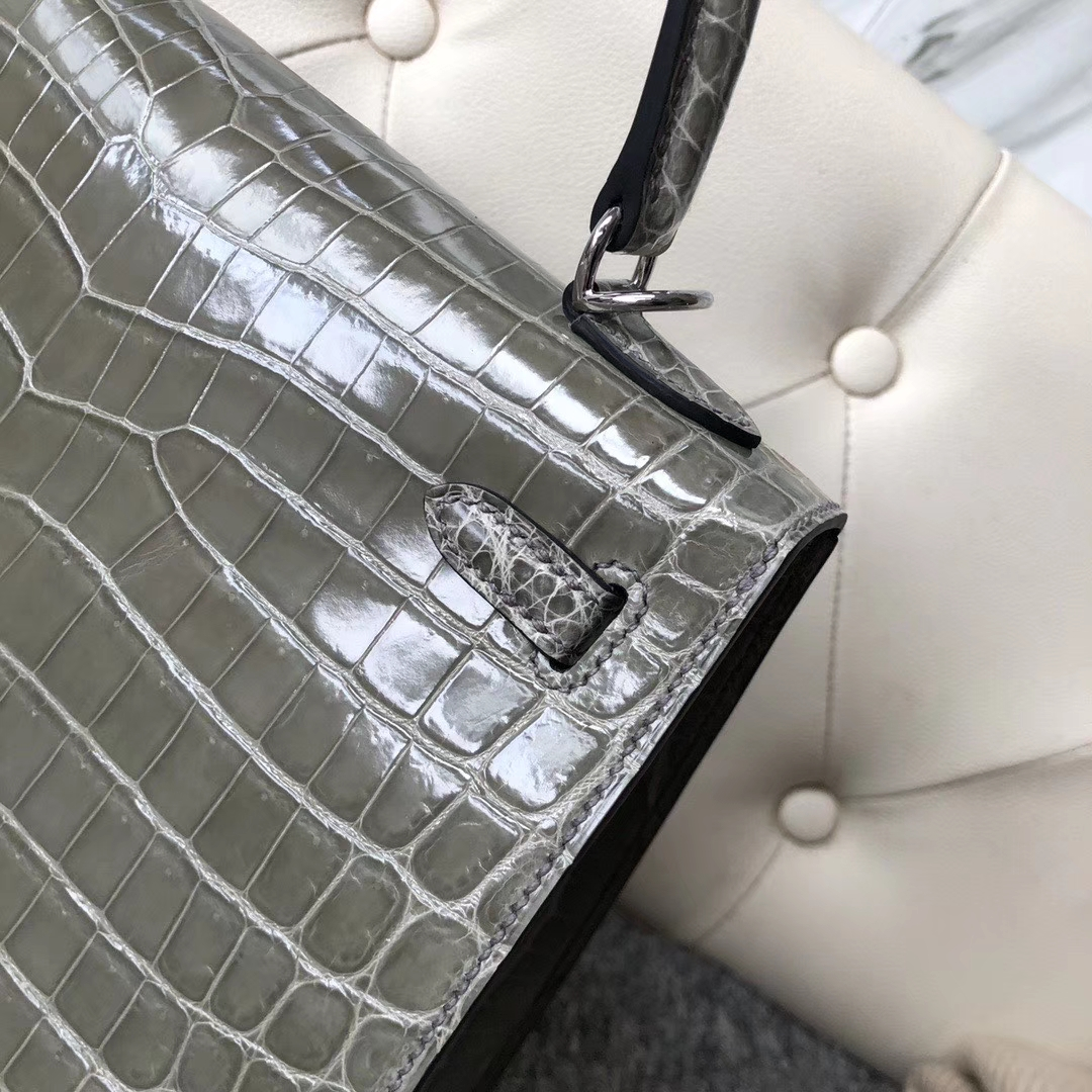 Hermès(爱马仕)Kelly 25cm Crocodile shiny 亮面鳄鱼 ck81 斑鸠灰 Gris T 银扣 现货