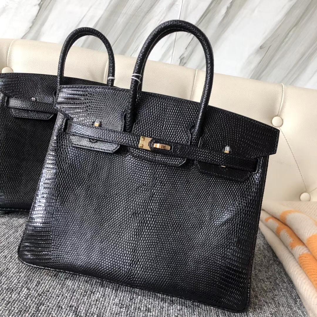 Hermès(爱马仕)Birkin 25cm Lizard 进口亮面蜥蜴  ck89 黑色 Noir  金扣 顶级手缝 现货