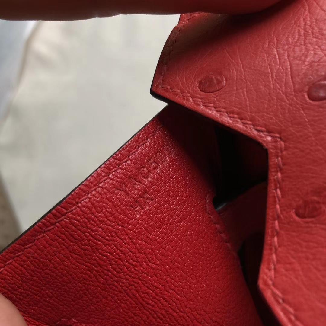Hermès(爱马仕)Birkin 30cm Ostrich kk鸵鸟 Q5 国旗红 Rouge casaque 金扣