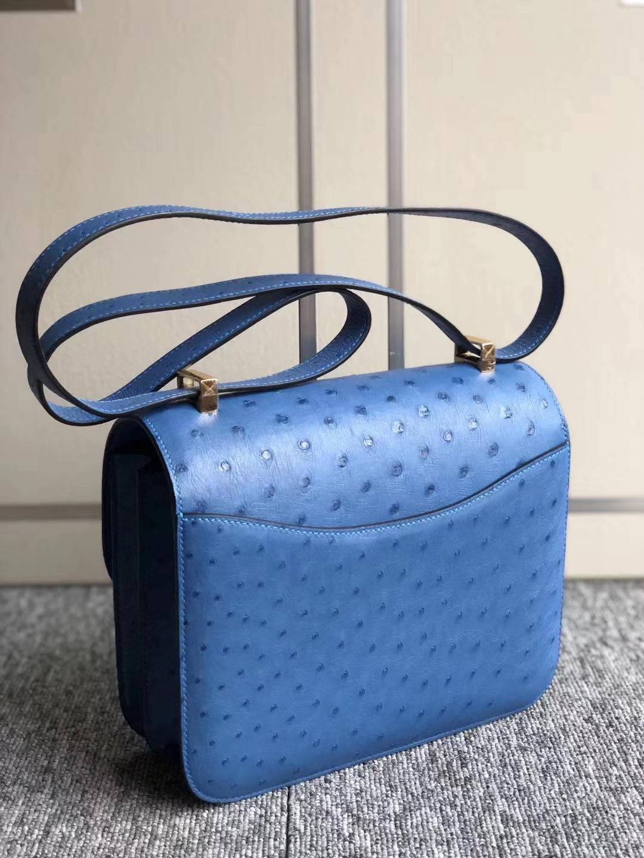 Hermès(爱马仕)Constance 23cm kk ostrich 顶级鸵鸟皮 7Q希腊蓝 蜡线全手工 金扣
