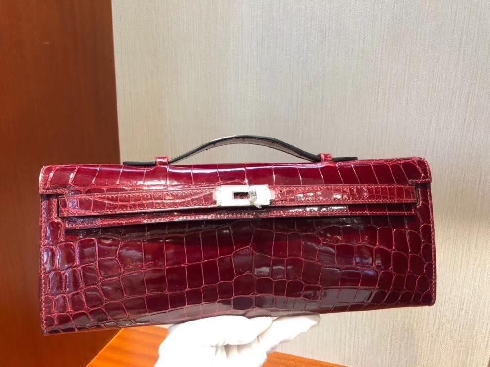 Hermès(爱马仕)Kelly cut 亮面鳄鱼 F5 勃艮第酒红 银扣 手拿包 晚宴包 31cm 现货
