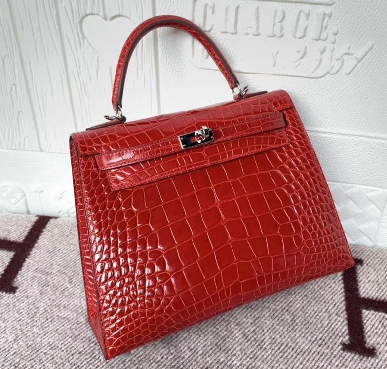 Hermès(爱马仕)Kelly 25cm Crocodile shiny 亮面鳄鱼 美洲法拉利红 银扣 现货