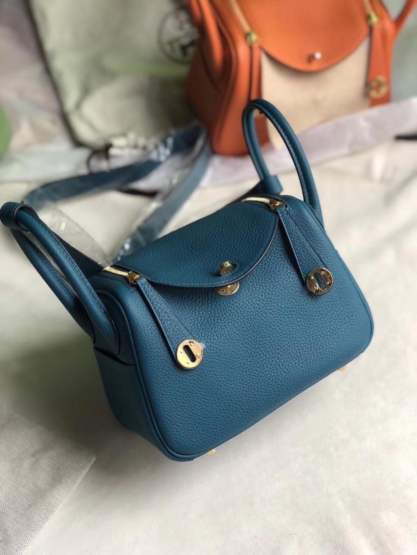 Hermès(爱马仕)Mini lindy tc w0 博斯普鲁斯蓝 金扣 定制