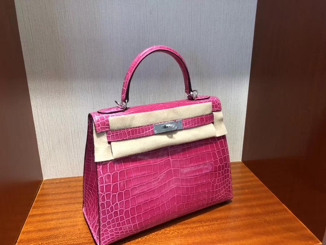 Hermès(爱马仕)Kelly 凯莉包 Crocodile shiny 亮面鳄鱼 5J 桃红 桃粉 银扣 顶级手缝 超美 28cm