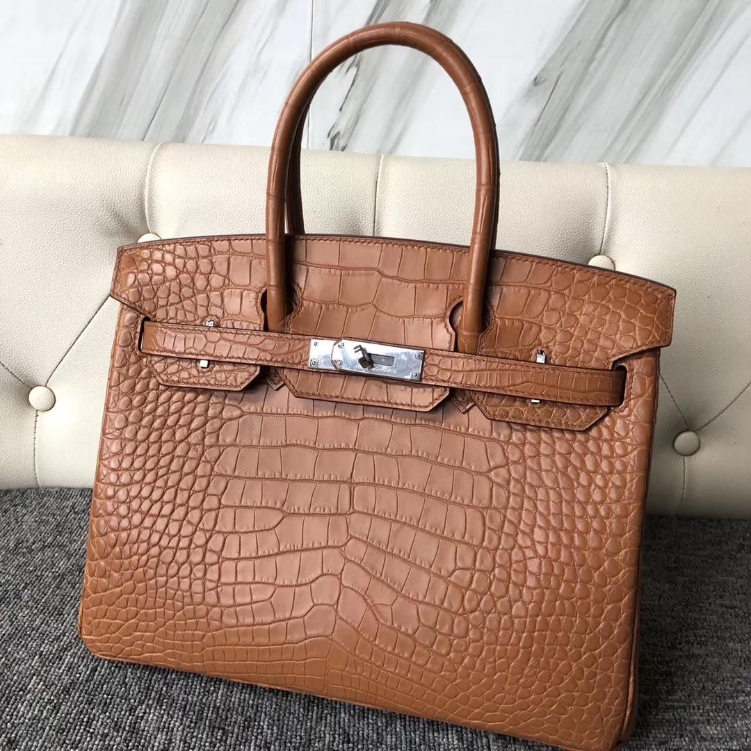 Hermès(爱马仕)Birkin 30cm Alligator matt 雾面鳄鱼 棕色 银扣 定制