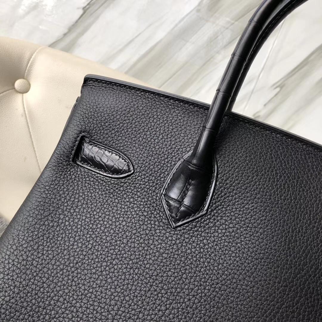 Hermès(爱马仕)Touch 系列 Birkin 黑色拼雾面方块黑色鳄鱼 30cm 金扣 顶级手缝