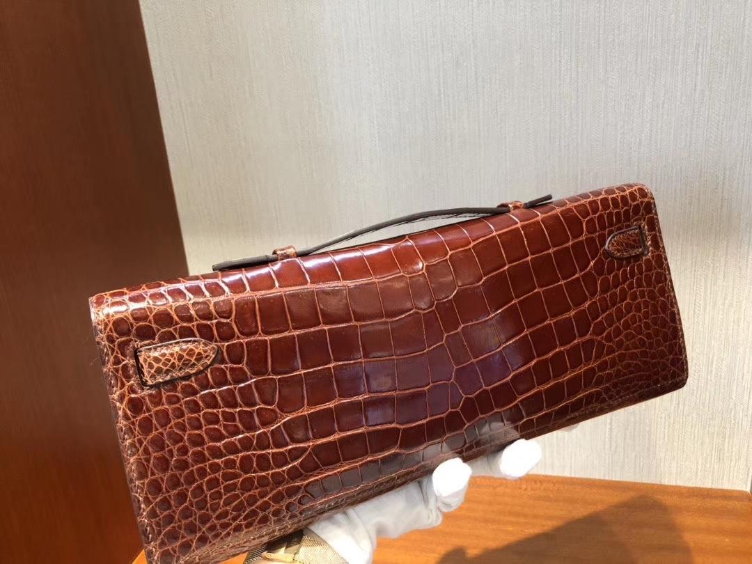 Hermès(爱马仕)Kelly cut 31cm Porosus shiny 亮面澳洲湾鳄鳄鱼 ck31 蜜糖棕 Miel 银扣 手拿包 晚宴包 现货