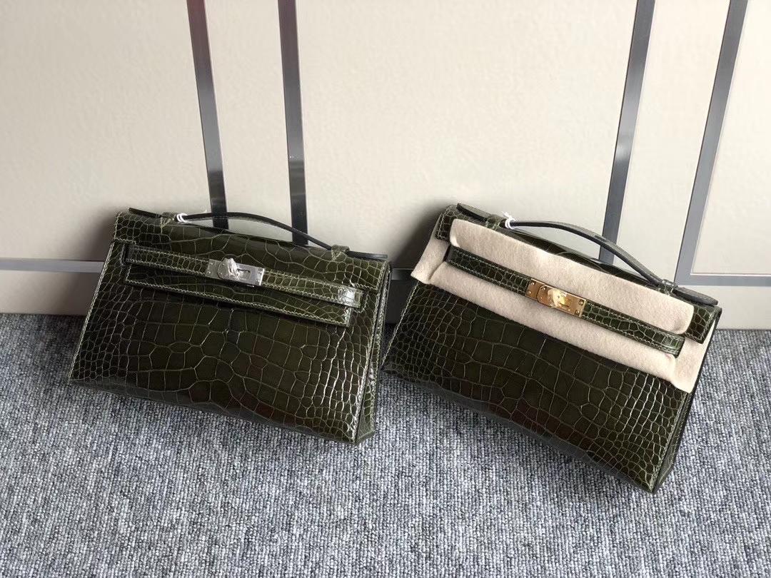 Hermès(爱马仕)Constance18cm Mini kelly 22cm Alligator shiny 亮面鳄鱼 6H 橄榄绿 金扣 银扣