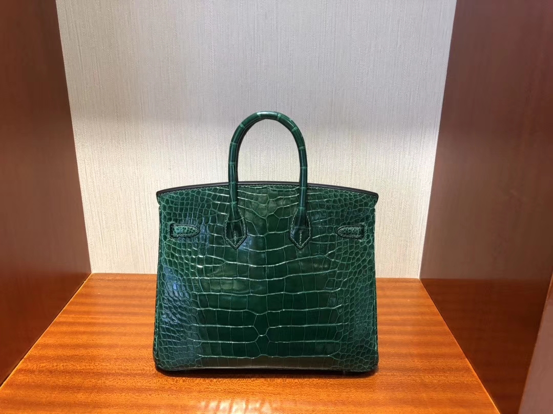 Hermès(爱马仕)Birkin 25cm Alligator shiny 亮面鳄鱼 ck67 祖母绿 Vert fonce 金扣 顶级手缝 现货