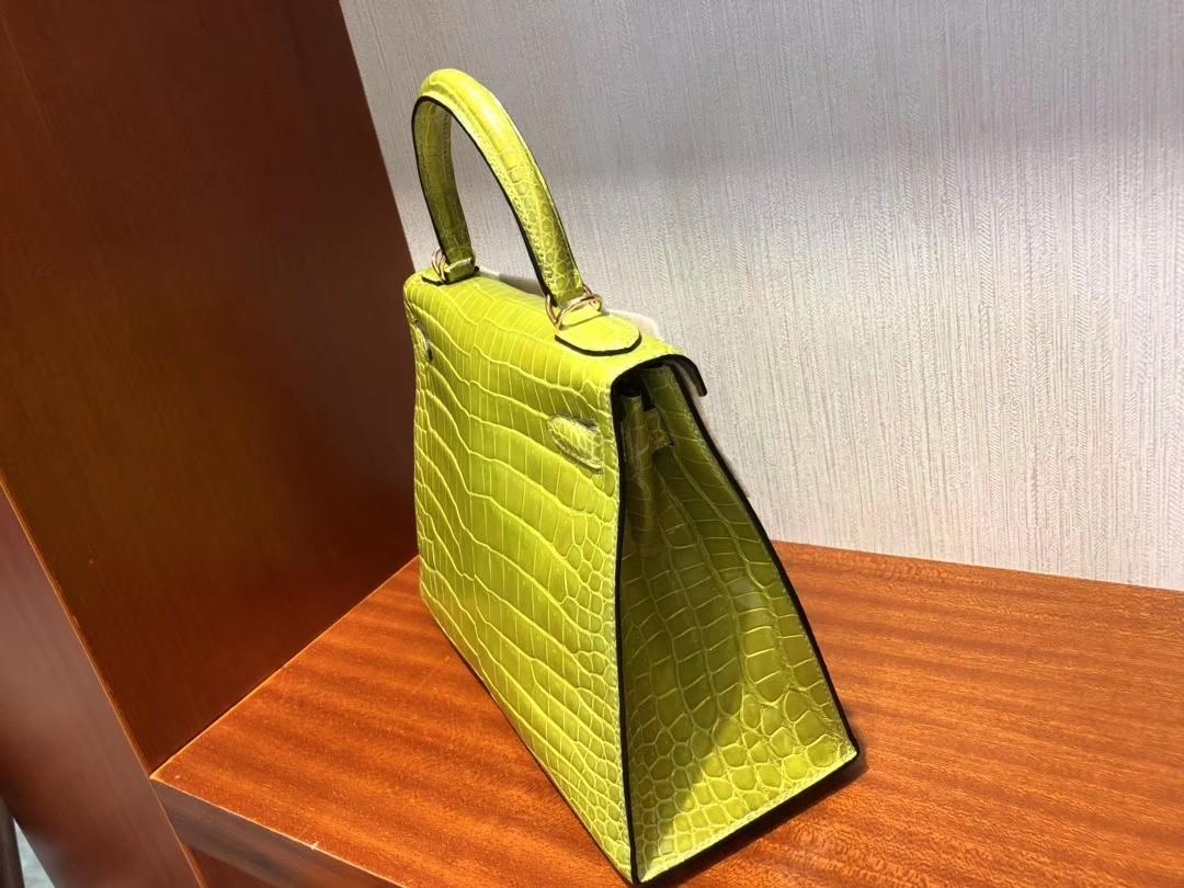 Hermès(爱马仕)Kelly 28cm Porosus shiny 亮面澳洲湾鳄 6R 奇异果绿 Kiwi 金扣 顶级手缝 超美
