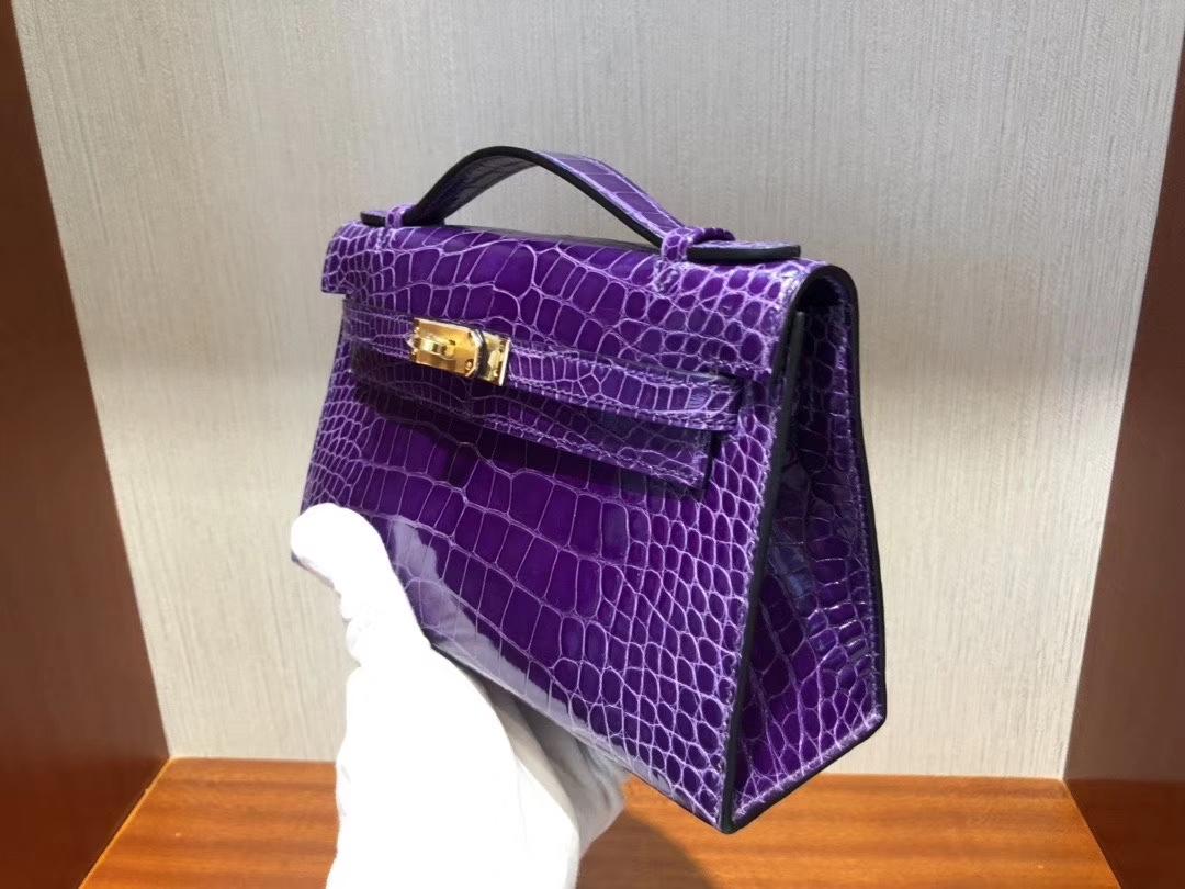 Hermès(爱马仕)Mini kelly pochette Alligator shiny 亮面鳄鱼 5L 极度紫 金扣 手拿包 晚宴包 22cm 现货