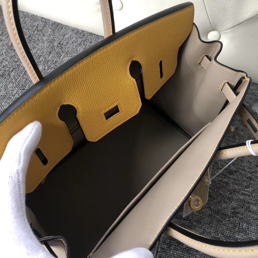 Hermès(爱马仕)Birkin 25cm Epsom 原厂掌纹皮 9D 琥珀黄 拼 M8 沥青灰Gris ashpite 金扣 马蹄印
