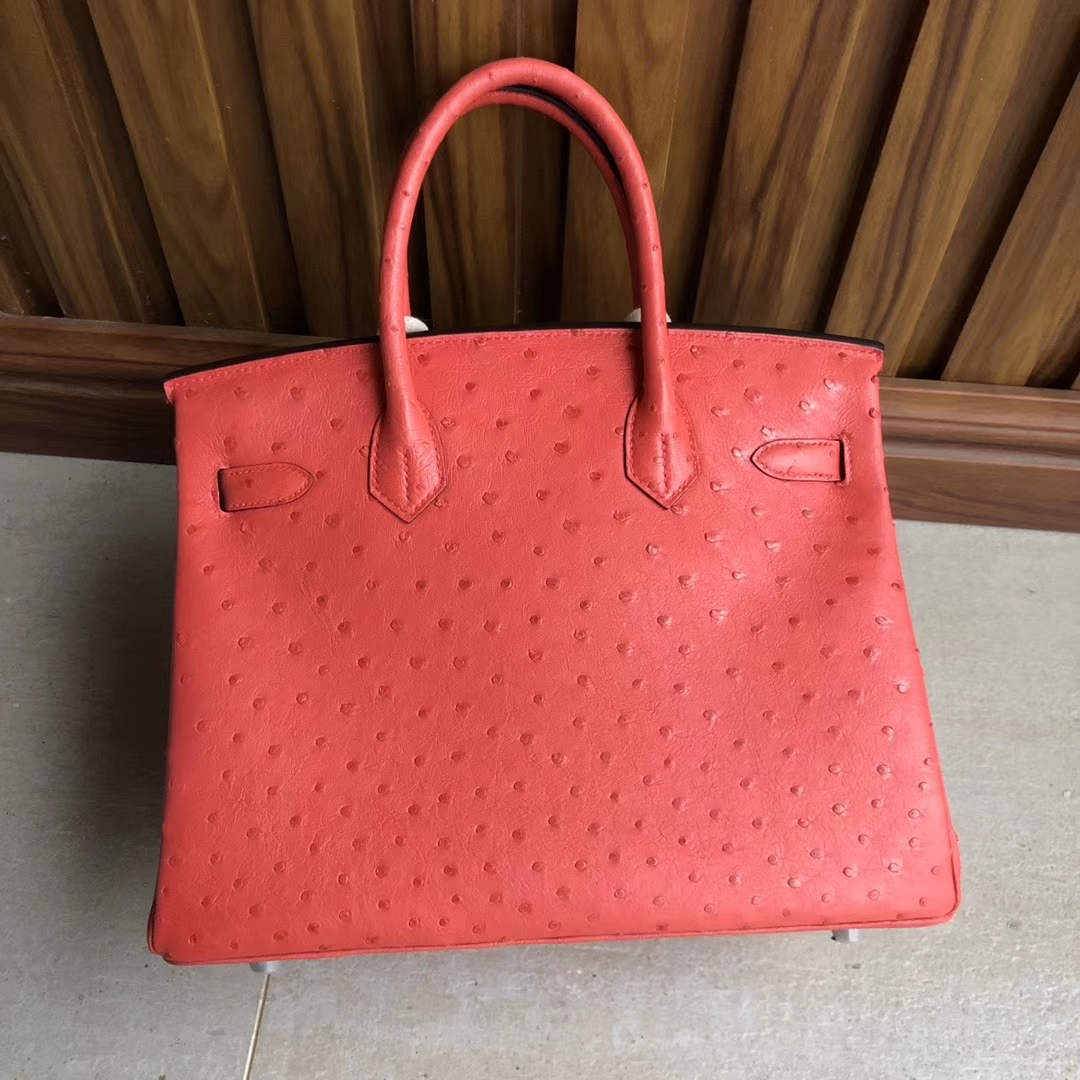 Hermès(爱马仕)Birkin 30cm Ostrich kk鸵鸟 A5 杜鹃红 银扣 顶级手缝