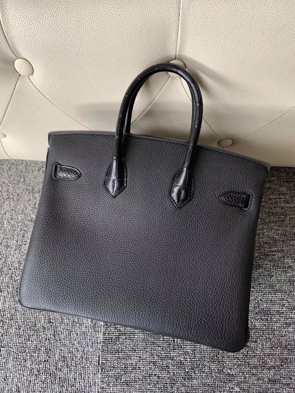 Hermès(爱马仕)Touch 系列!Birkin25cm ck89 黑色 拼雾面鳄鱼 黑色 金扣 定制