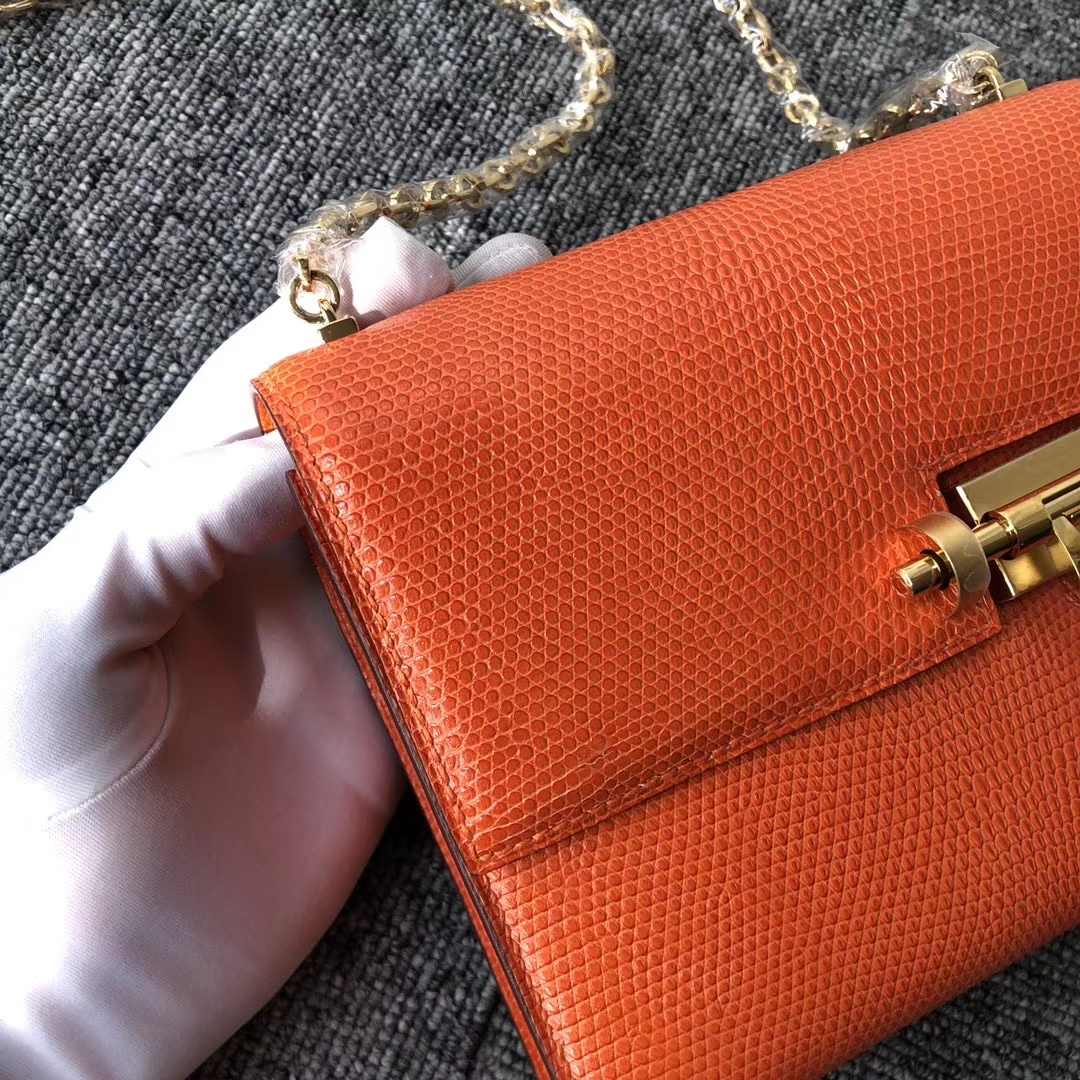 Hermès(爱马仕)Verrou 17cm 蜥蜴 9J 火焰橙 金扣 顶级手缝 定制