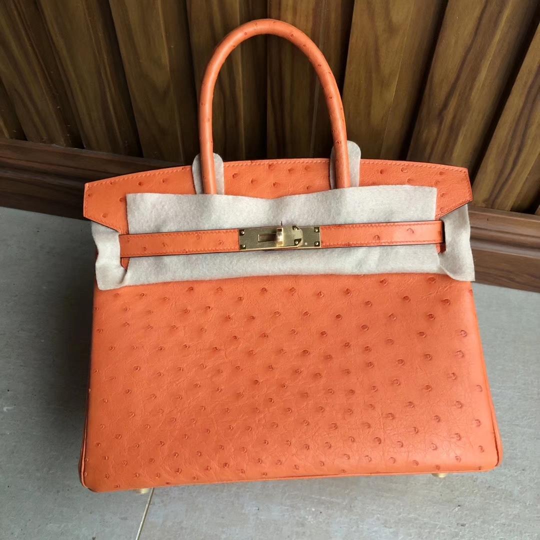 Hermès(爱马仕)Birkin30cm Ostrich kk鸵鸟 93橙色 Orange 金扣 顶级手缝