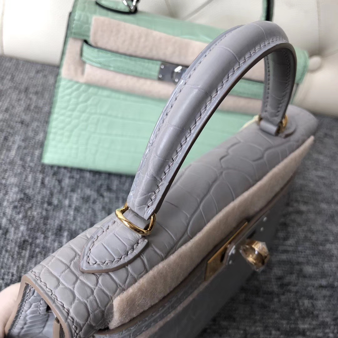 Hermès(爱马仕)Mini kelly ll Alligator matt 雾面鳄鱼 ck80 珍珠灰 金扣 顶级手缝