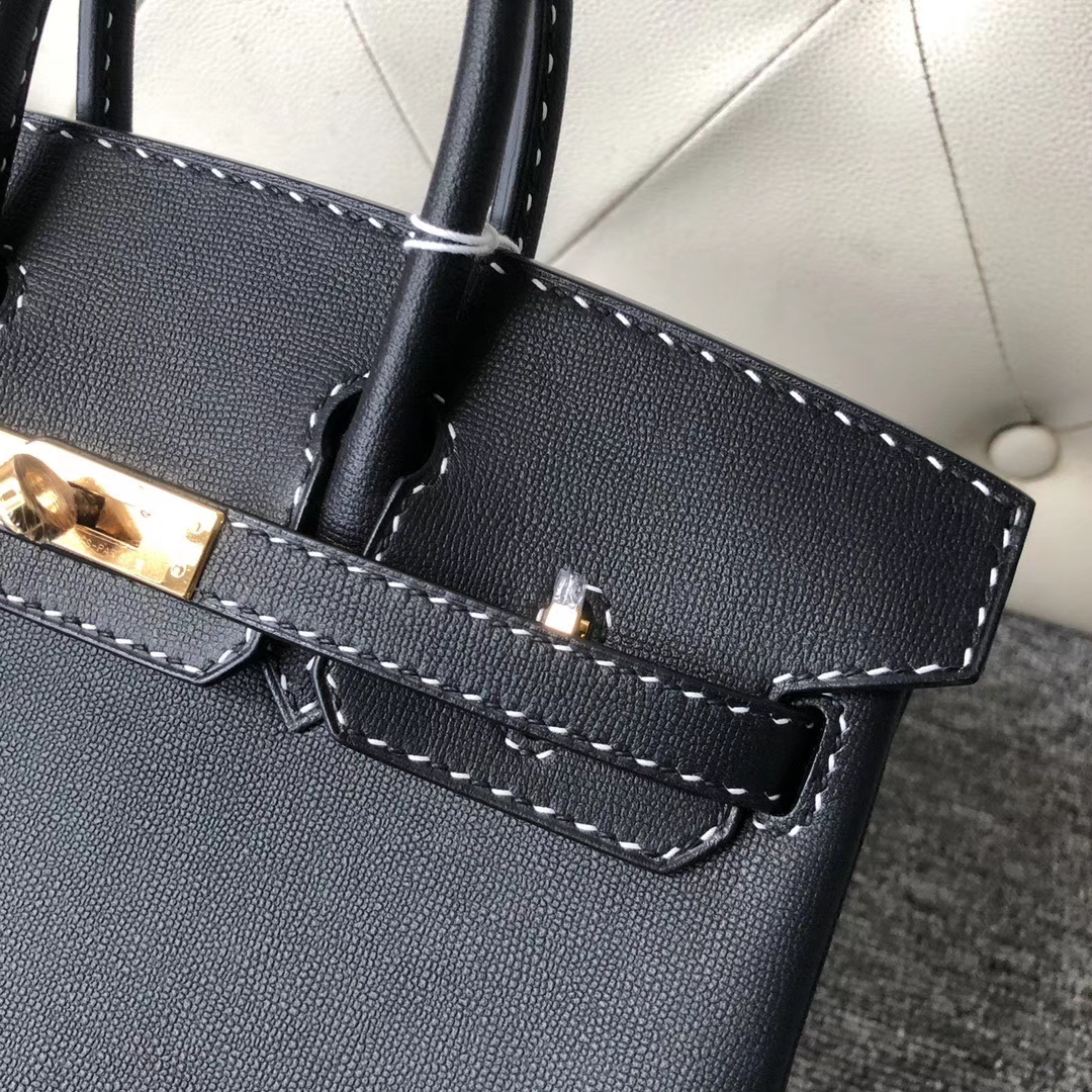Hermès(爱马仕)Birkin 25cm GM皮 miss u 系列  ck89 黑色 金扣 黑白线 顶级手缝