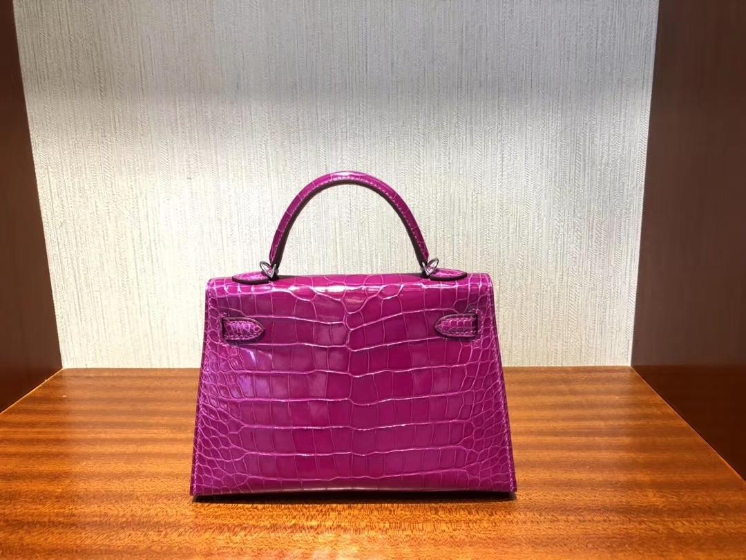 Hermès(爱马仕)Mini kelly 2 Alligator shiny 亮面鳄鱼 J5 天方夜谭粉紫  银扣 顶级手缝 现货