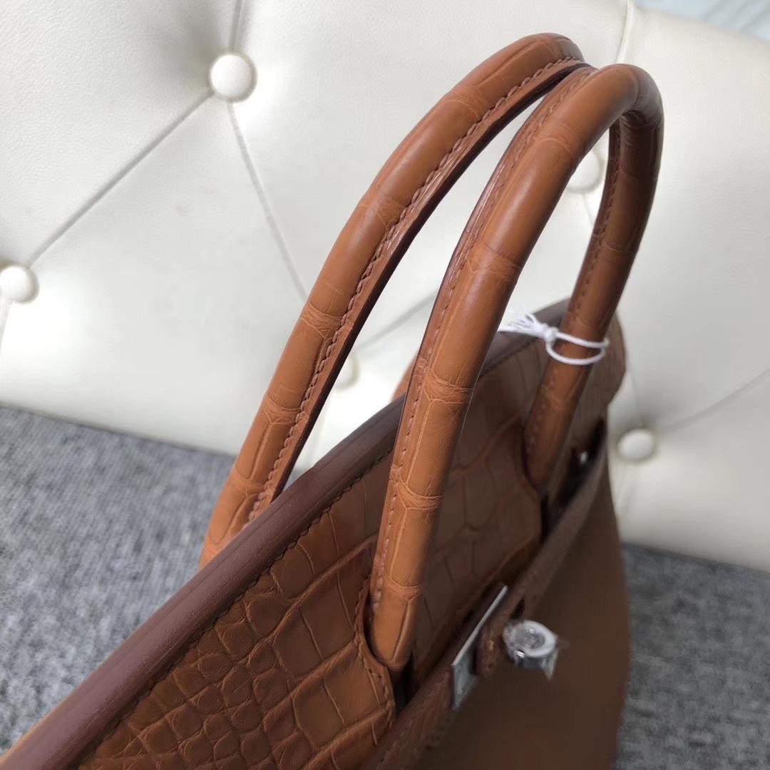 Hermès(爱马仕)Touch 系列 Birkin 25cm 金棕色 拼雾面棕色鳄鱼 银扣 顶级手缝  现货