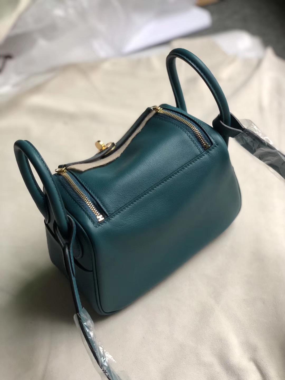 Hermès(爱马仕)Mini lindy 迷你凯莉 swift 海峡绿 金扣 定制