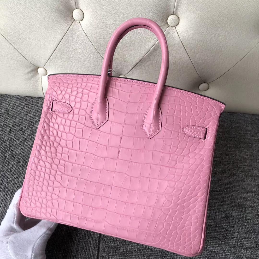Hermès(爱马仕)Birkin 25cm Crocodile matt 雾面鳄鱼 5p 樱花粉 银扣 顶级手缝