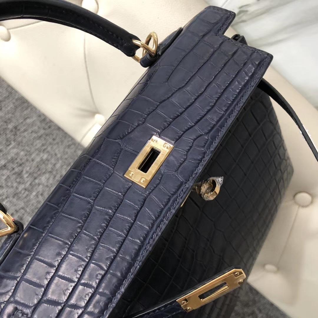 Hermès(爱马仕)Kelly 25cm Crocodile matt 雾面鳄鱼 深海蓝 Blue indgo 金扣 定制
