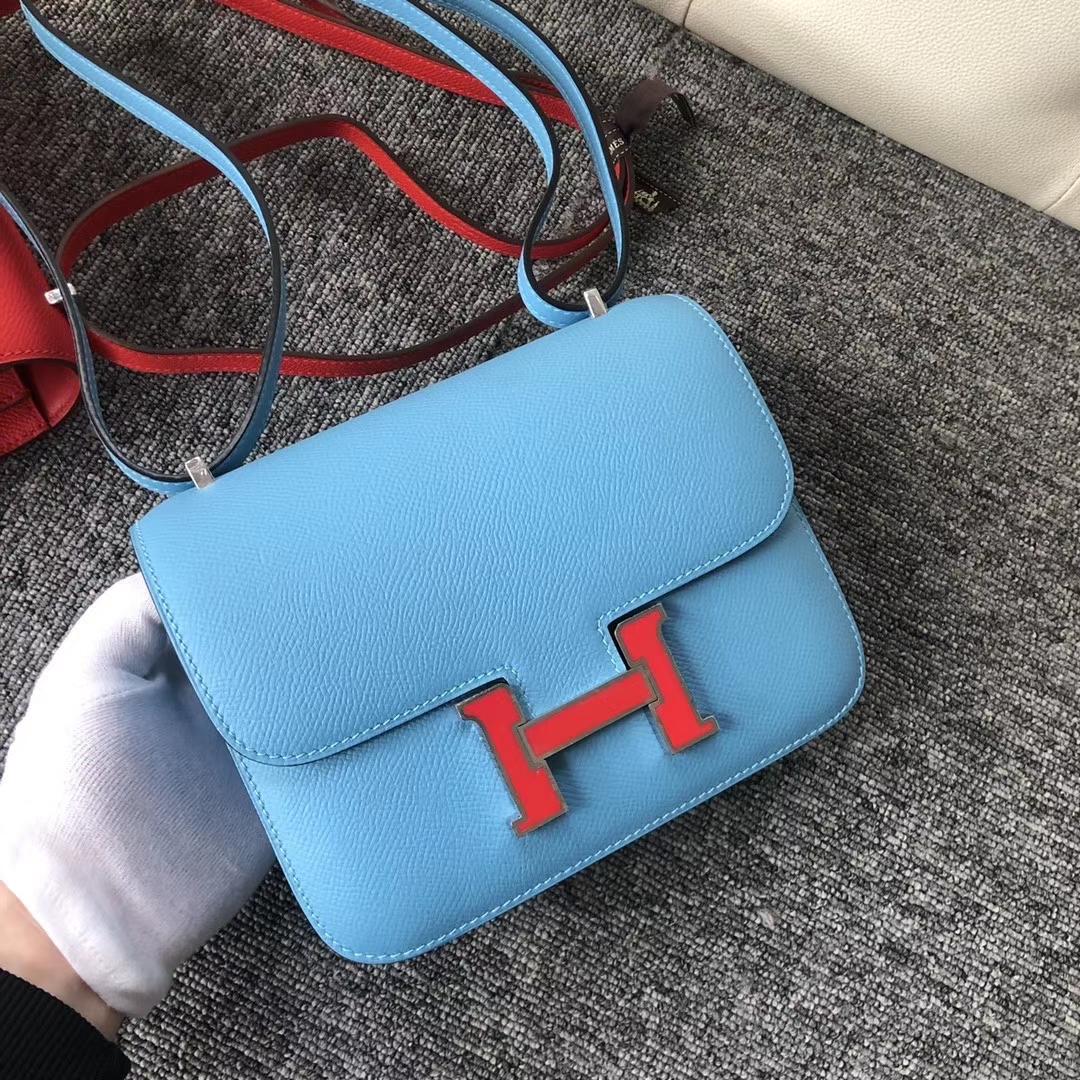 Hermès(爱马仕)constance 18cm Epsom 原厂掌纹皮 北方蓝珐琅扣 珐琅扣