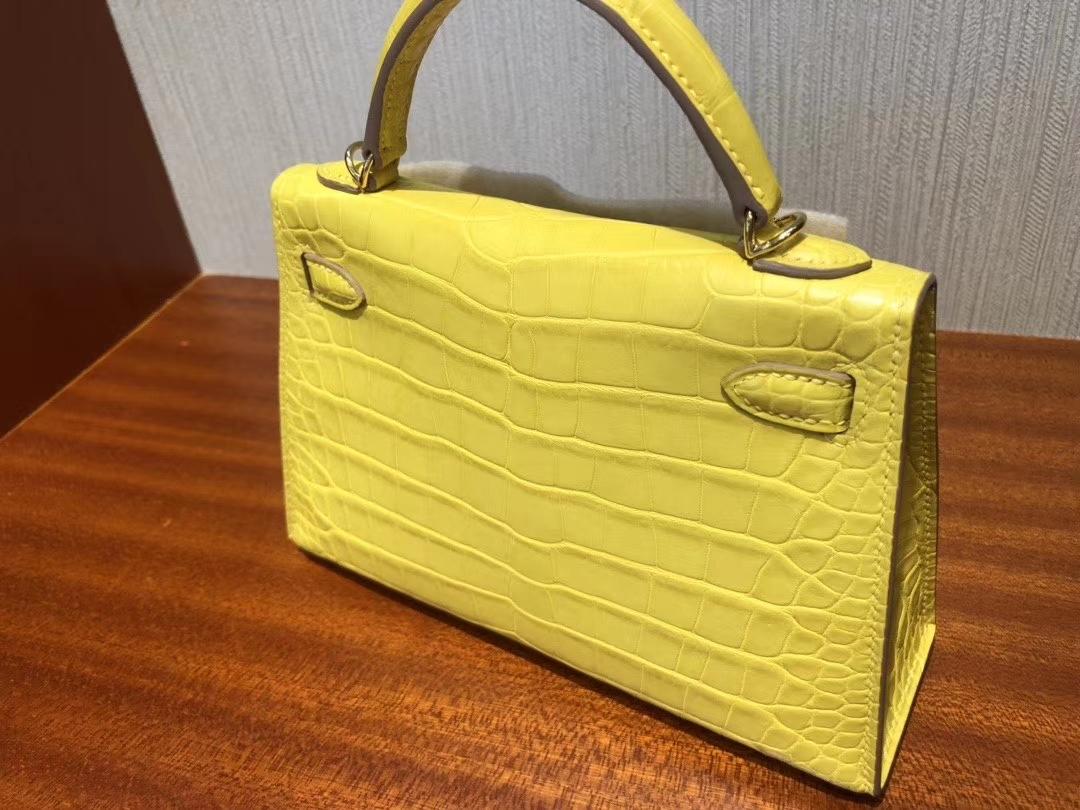 Hermès(爱马仕)Mini kelly ll  Alligator matt 雾面鳄鱼 M9 冰凝黄 金盏花黄 金扣 现货
