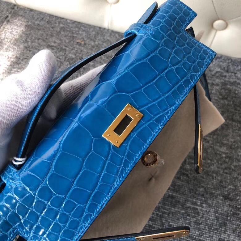 Hermès(爱马仕)Mini kelly pochette 22cm 亮面鳄鱼 7Q爱琴海蓝  金扣 手拿包 晚宴包 顶级手缝