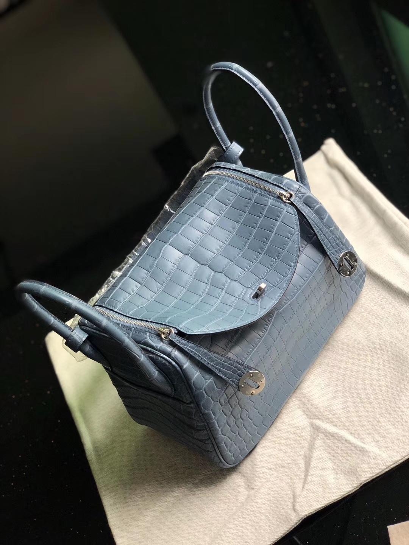 Hermès(爱马仕)Lindy 26cm Crocodile matt 雾面鳄鱼 雾霾蓝 银扣 顶级手缝 定制