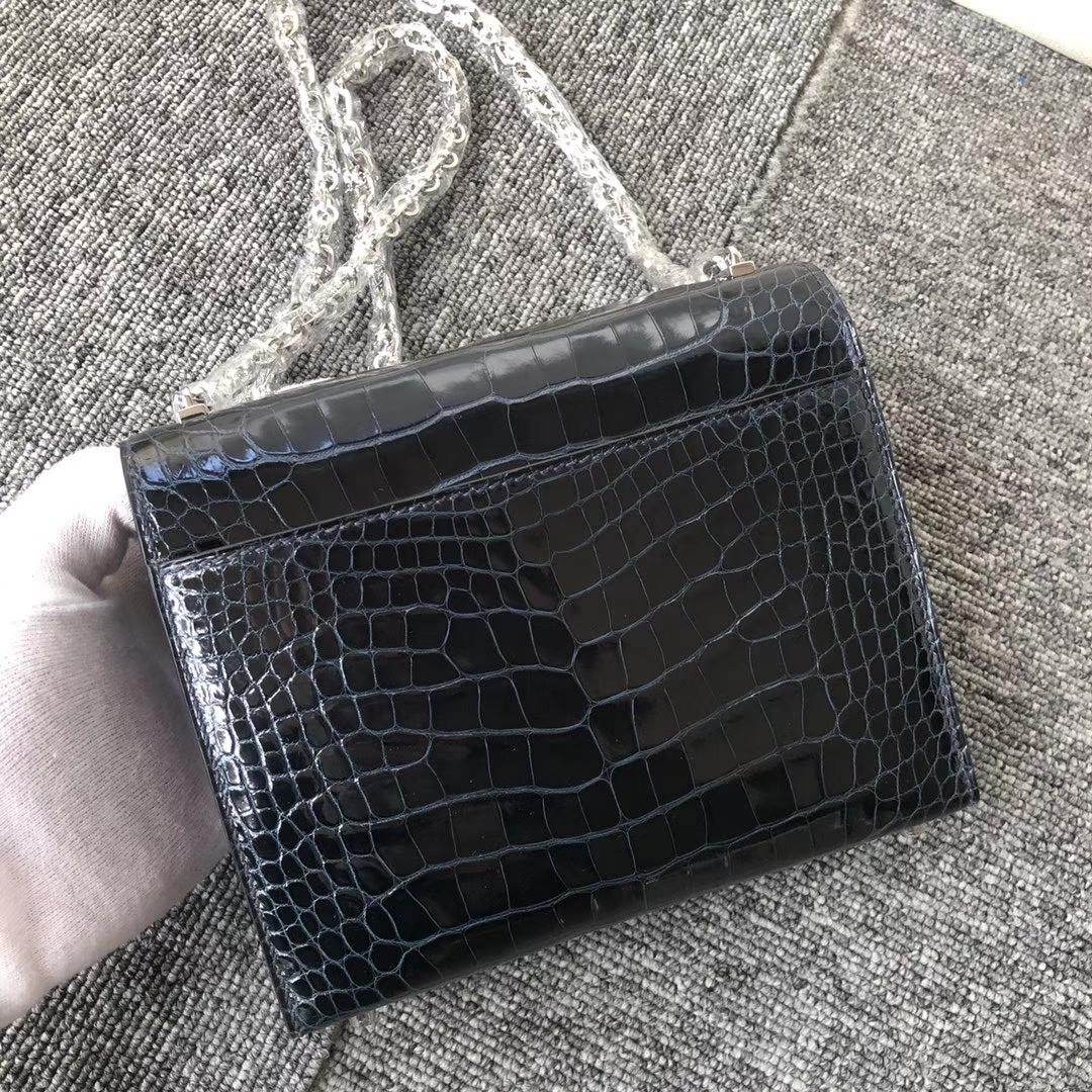 Hermès(爱马仕)Verrou 17cm Alligator shiny 亮面鳄鱼 1p鸭子蓝  顶级手缝 定制