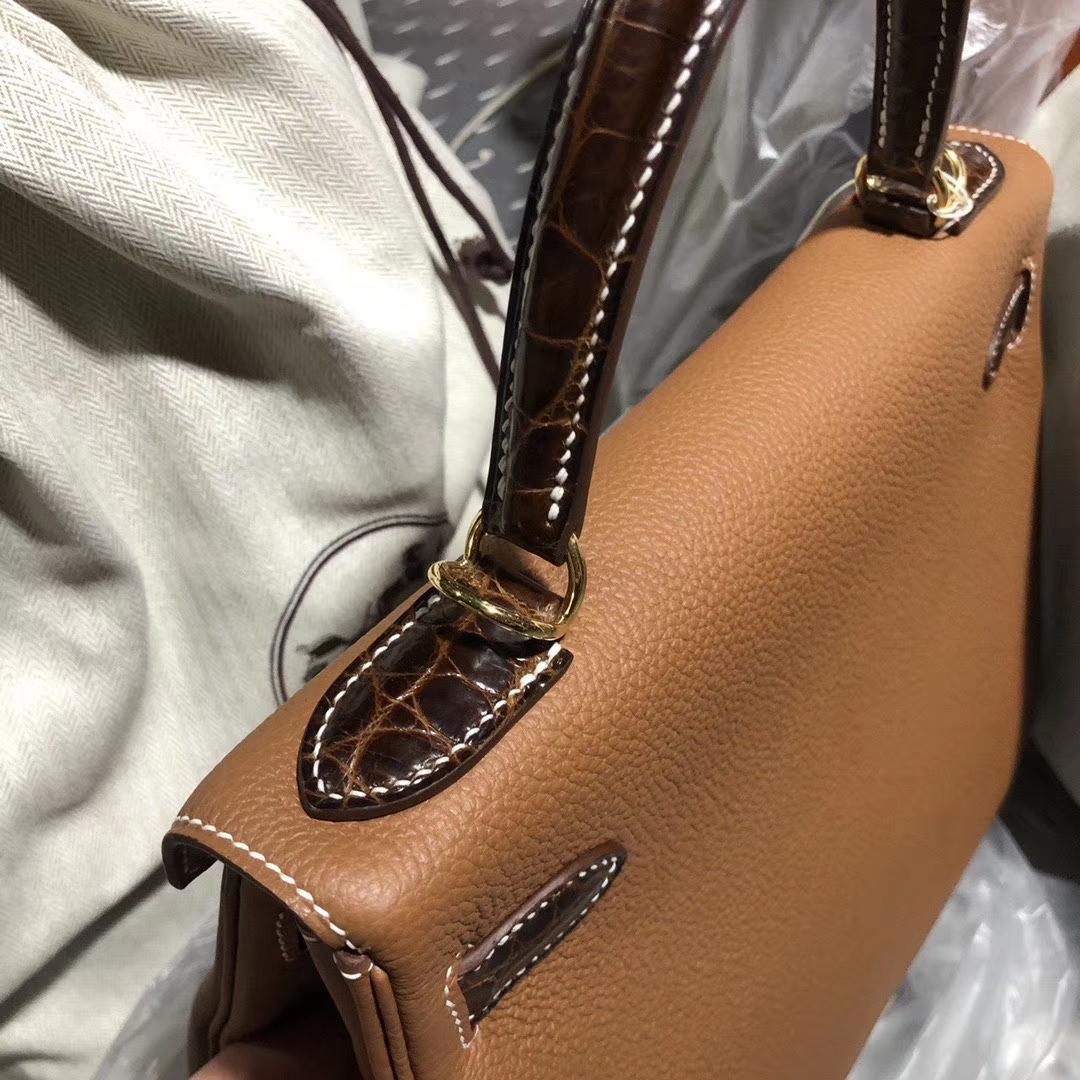 Hermès(爱马仕)Kelly 28cm 原厂小牛皮 ck37 金棕 Gold 蜜糖棕鳄鱼 银扣 顶级手缝 定制