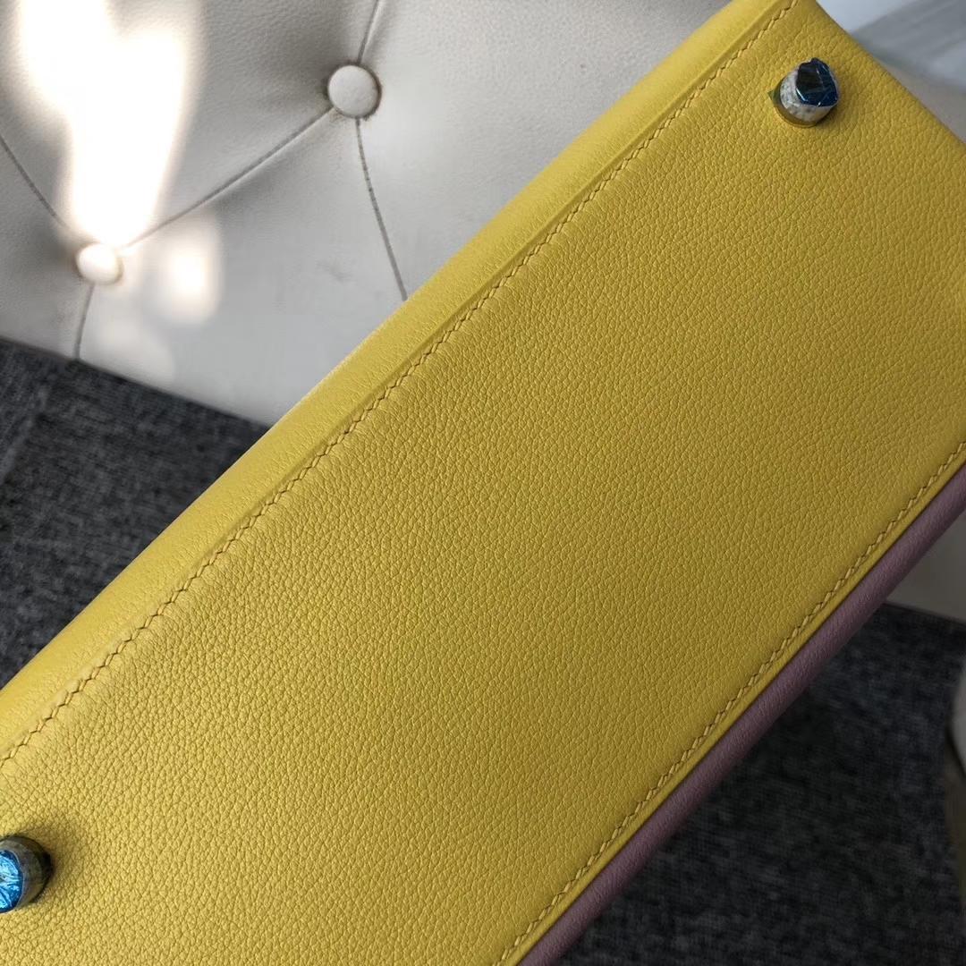 Hermès(爱马仕)Kelly 凯莉包 25cm 山羊皮 三拼色 定制