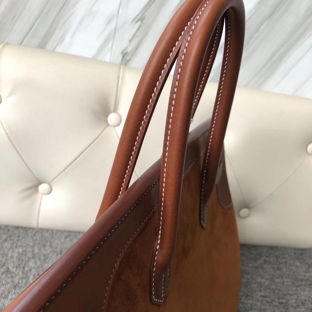 Hermès(爱马仕)Birkin 35cm 麂皮金棕色拼 马鞍皮金棕色  金扣 顶级手缝 定制